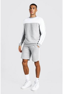 Sweat et short color block - MAN, Grey marl