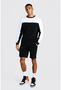 MAN Trainingsanzug mit Shorts im Colorblock-Design, Schwarz