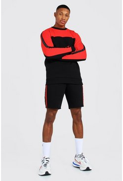 MAN Trainingsanzug mit Shorts im Colorblock-Design, Rot