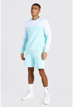 MAN Trainingsanzug mit Shorts im Colorblock-Design, Blassblau