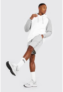 Grey marl Colour Block Man Tape Short Hooded Tracksuit