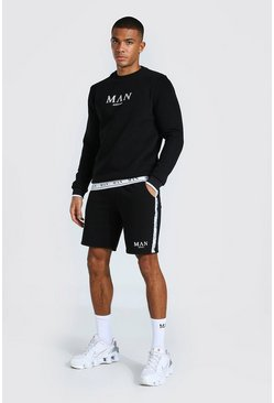 Black Man Short Sweater Tracksuit With Tape Detail