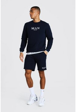 Man Short Sweater Tracksuit With Tape Detail, Navy