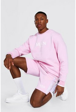 Sweat et short de survêtement à bande - MAN, Pale pink
