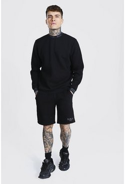 Black Short Sweater Tracksuit With Man Rib