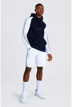 Colour Block Man Tape Short Hooded Tracksuit, Navy