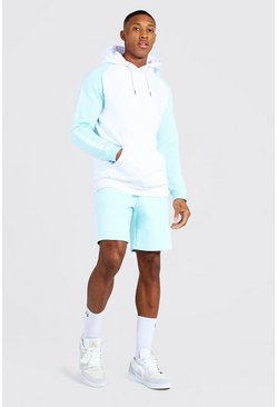 Sweat à capuche et short de survêtement color block - MAN, Pale blue