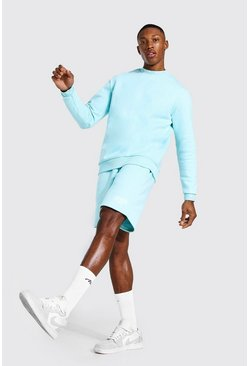 Short Sweater Tracksuit With Man Rib, Pale blue