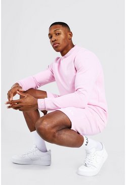 Short Sweater Tracksuit With Man Rib, Pale pink