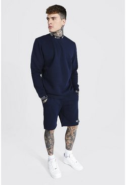 Short Sweater Tracksuit With Man Rib, Navy