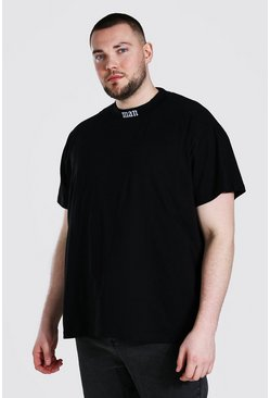 Black Plus Size Loose Fit Man Extended Neck T-shirt