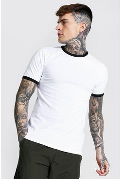 White Muscle Fit Crew Neck Ringer T-shirt