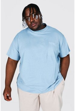 Blue Plus Loose Fit Extended Neck Pocket T-shirt
