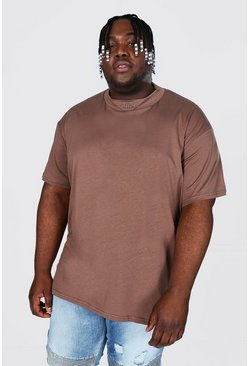 Plus Size Loose Fit Man Extended Neck T-shirt, Brown