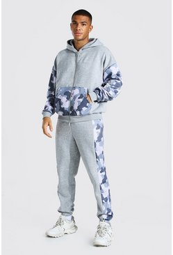 Grey marl Oversized Man Camo Colour Block Zip Tracksuit