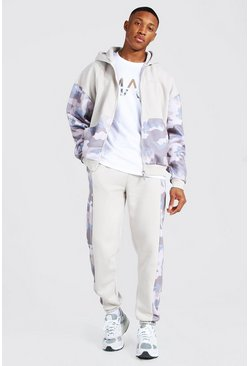 Stone Oversized Man Camo Colour Block Zip Tracksuit