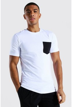 White Muscle Fit Crew Neck Contrast Pocket T-shirt