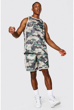 Man Camo Mesh Vest and Basketball Short Set, Stone