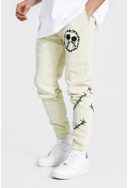 Sand Regular Barbed Wire Print Joggers