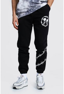 Black Regular Barbed Wire Drip Face Joggers
