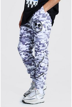 Grey Regular Barbed Wire Camo Joggers