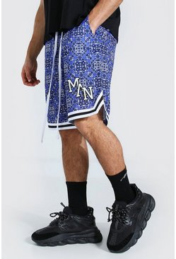 Blue Loose Man Bandana Mesh Shorts