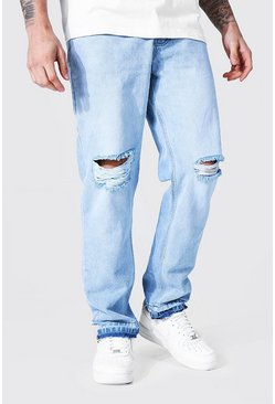 Ice blue Straight Leg Busted Knee Let Down Hem Jean