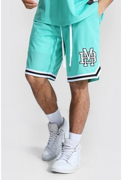 Green Varsity Man Applique Mesh Basketball Shorts