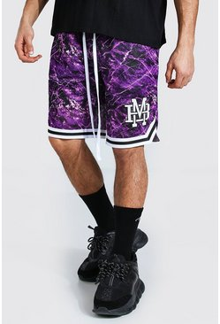 Purple Varsity Badge Printed Mesh Basketball Short