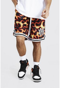 Black Varsity Badge Printed Mesh Basketball Short