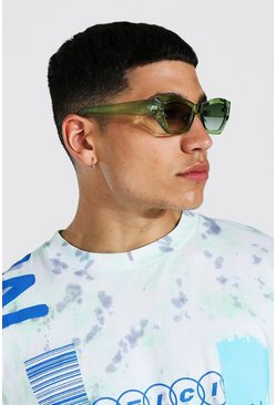 Green Angled Oval Sunglasses