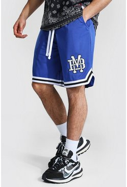 Blue Varsity Man Applique Mesh Basketball Shorts