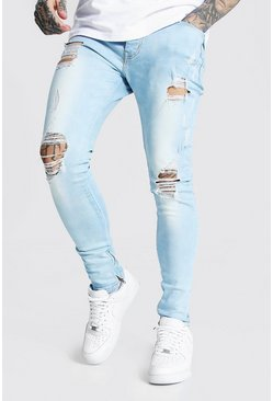 Ice blue Super Skinny Multi Rip Zip Hem Jean