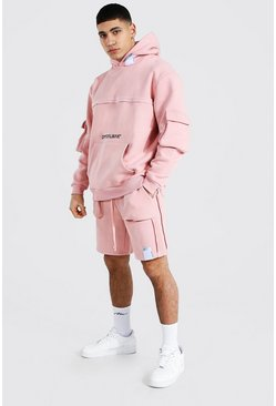 Pink Oversized Man Raw Seam Short Hooded Tracksuit