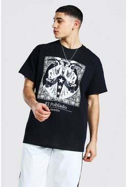 Black Oversized Statue Graphic T-shirt