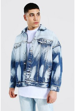 Mid blue Heavily Bleached Denim Jacket