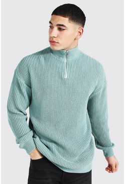 Sage Oversized Chunky Ribbed Half Zip Jumper