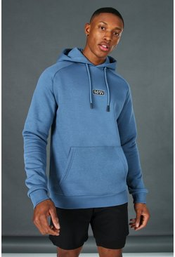 Dusty blue Man Active Training Over The Head Hoodie