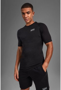 Black Man Active Raglan Training T-shirt