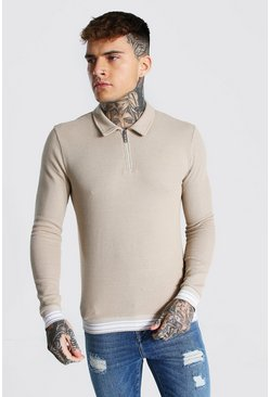 Stone Muscle Fit Long Sleeve Knit Polo With Stripes