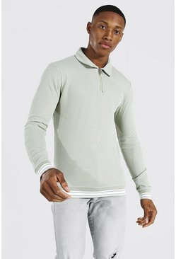 Sage Muscle Fit Long Sleeve Knit Polo With Stripes