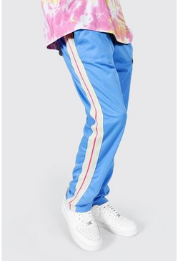 Blue Loose Fit Tricot Joggers With Side Tape