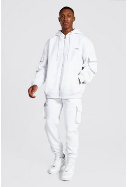 Ash grey Oversized Original Man Cargo Hooded Tracksuit