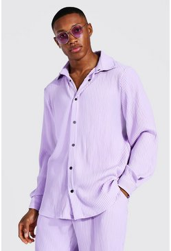 Lilac Long Sleeve Pleated Popper Shirt Jacket