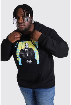 Black Plus Size Biggie Colour Block License Hoodie