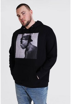 Grande taille - Sweat à capuche officiel Tupac de profil, Black