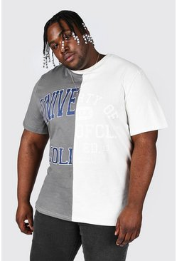 Sand Plus Size Spliced Varsity Print T-shirt