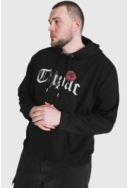 Grande taille - Sweat à capuche officiel Tupac rose, Black