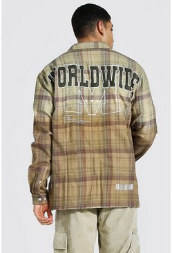 Light brown Oversized Back Print Ombre Check Shirt