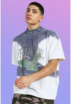 Oversized Heavyweight Printed Tie Dye T-shirt, Beige